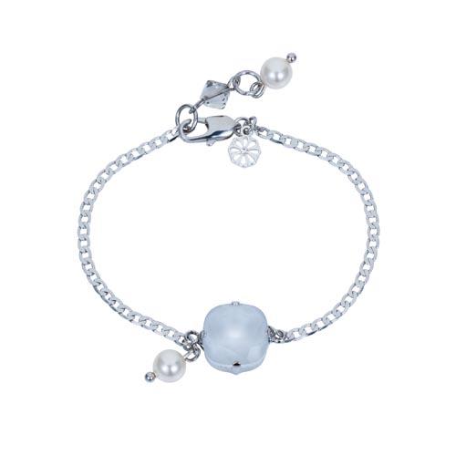 Square Stone & Glass Pearl Bracelet Dove A