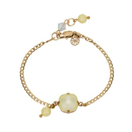 Square Stone & Glass Pearl Bracelet Lemon A