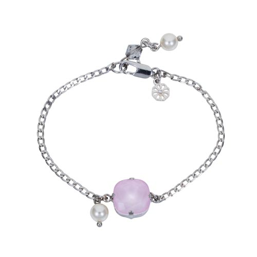 Square Stone & Glass Pearl Bracelet Soft Pink A