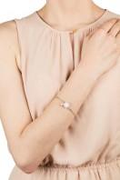 Square Stone & Glass Pearl Bracelet Soft Pink B