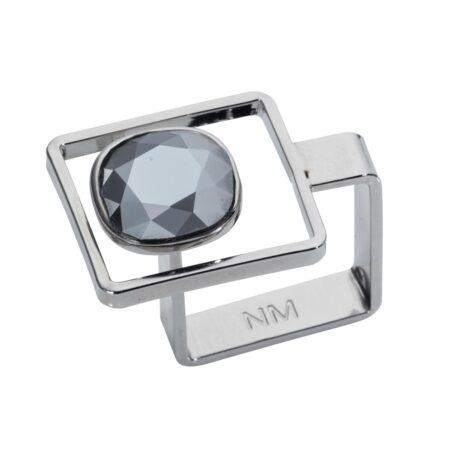 Square Frame Ring - Chrome & Silver