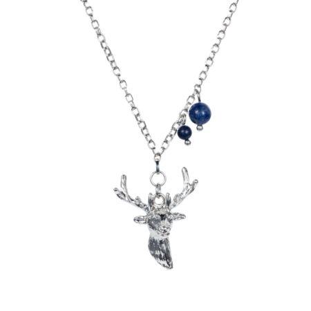 Stag Charm Necklace - Lapiz - 001