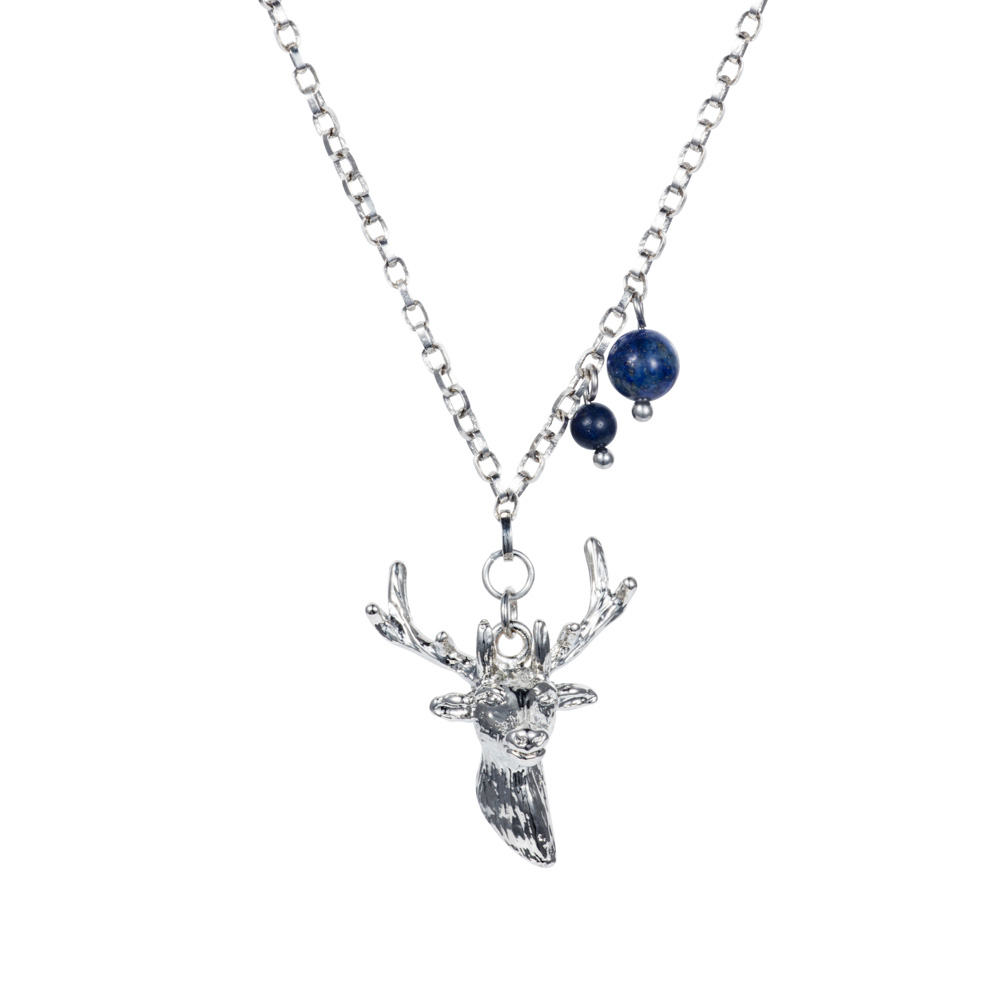 Stag Charm Necklace - Lapiz - 001