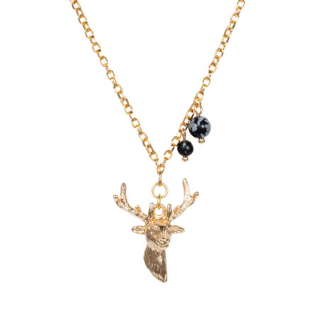 Stag Charm Necklace - Snowflake Obsidian - 001