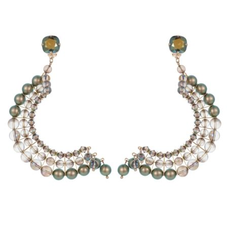 Statement Half Crescent Earrings Iridescent Green