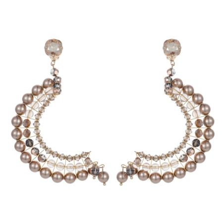 Statement Half Crescent Earrings Rose Gold & Champagne