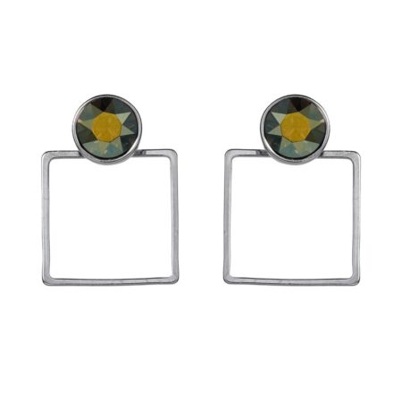 Stone Frame Earrings Irridescent Green - 002