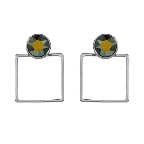 Stone Frame Earrings Irridescent Green - 002
