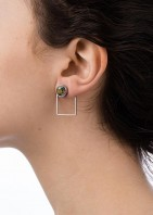 Stone Frame Earrings Irridescent Green - 003