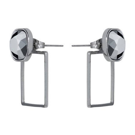 Stone Frame Earrings Silver Chrome - 001
