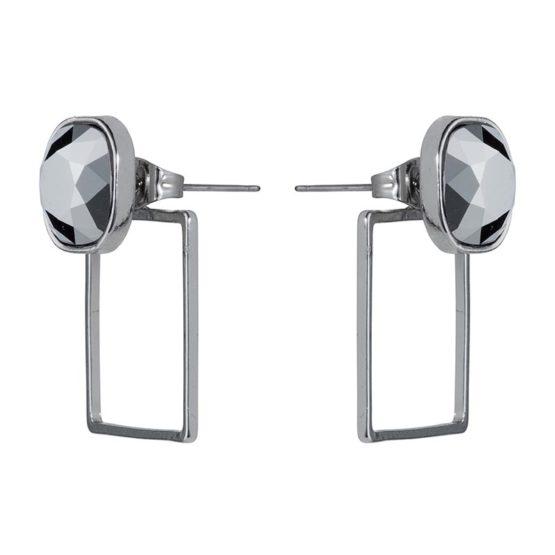 Stone Frame Earrings Silver Chrome - 001
