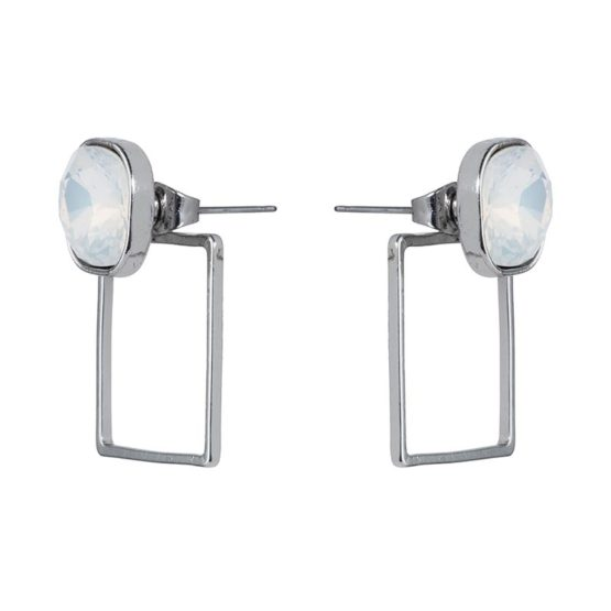 Stone Frame Earrings Silver Opal White - 001