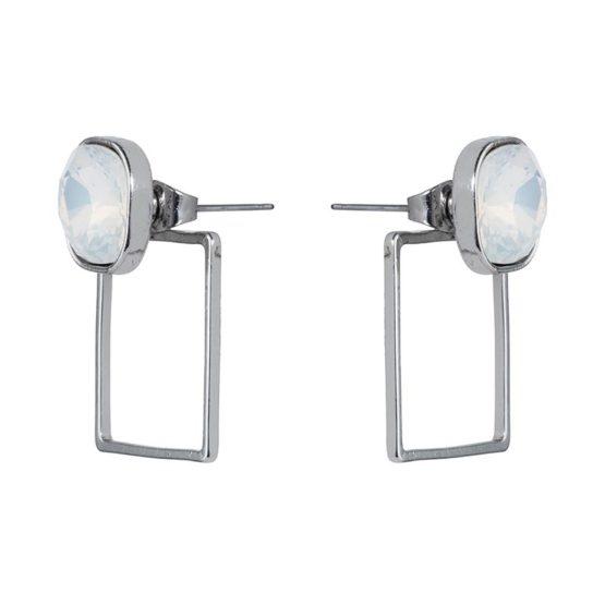 Stone Frame Earrings Silver Opal White - 001