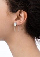Stone Frame Earrings Silver Opal White - 003