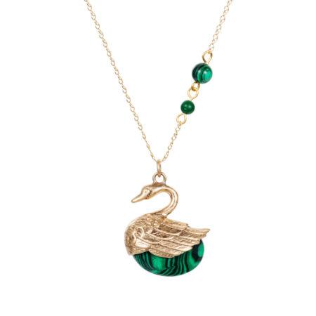 Swan Charm Necklace - Malachite - 001