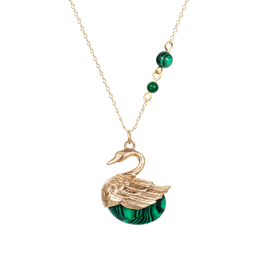 Swan Charm Necklace - Malachite - 001