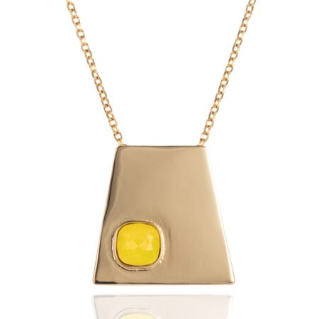 Trapezium Necklace - Gold with Yellow