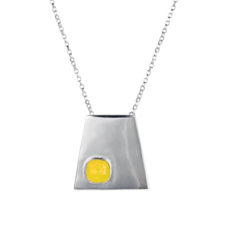Trapezium Necklace - Silver with Yellow