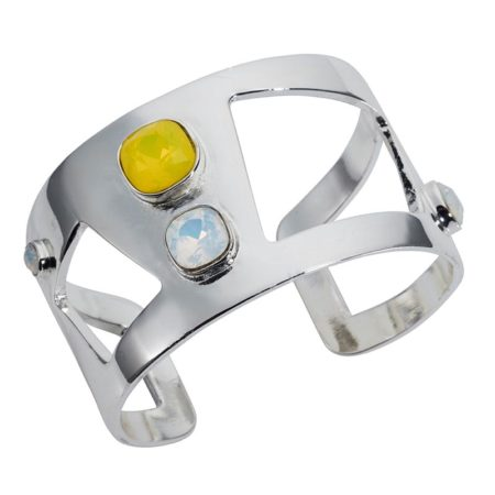 Wide Statement Cuff Yellow Silver - 001
