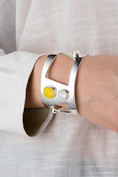 Wide Statement Cuff Yellow Silver Lookbook