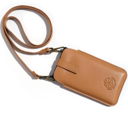 Mobile Phone Holder - Natural Saddle Leather