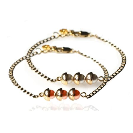 Pearl Duo Bracelet - Coral & Dove Grey - Gold
