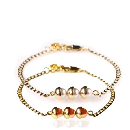 Pearl Duo Bracelet - Coral & Pearl - Gold