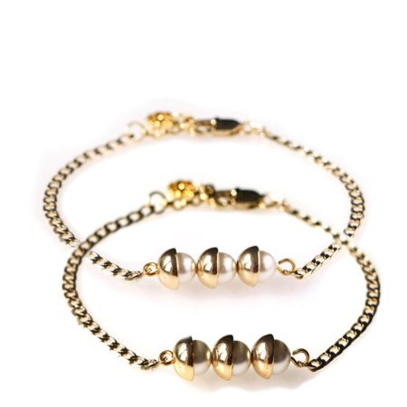 Pearl Duo Bracelet - Dove Grey & Pearl - Gold