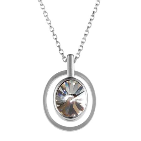 Ellipse Pendant - Silver with Crystal