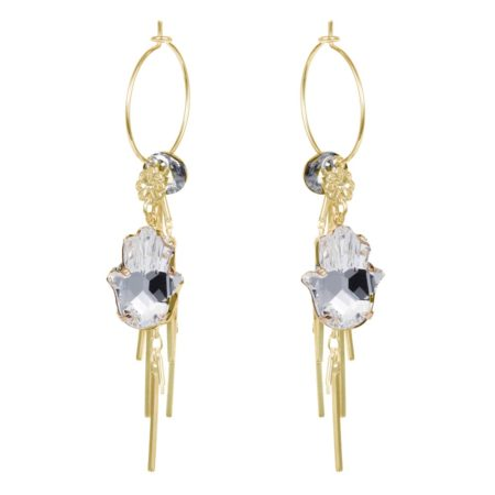 Hamsa Cluster Earrings - Crystal & Gold