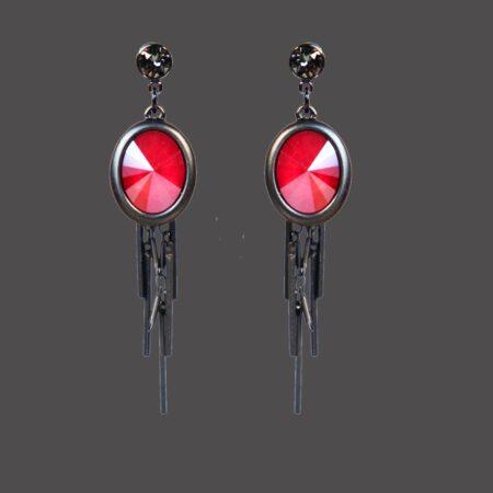Oval Cluster Earring - Matt Gunmetal with Red