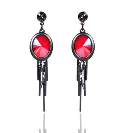 Oval Cluster Earring - Matt Gunmetal with Red
