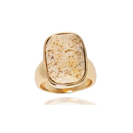 Semi Precious Picture Jasper V Ring