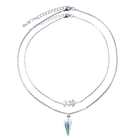 Layered Shard Necklace - Denim Blue & Silver
