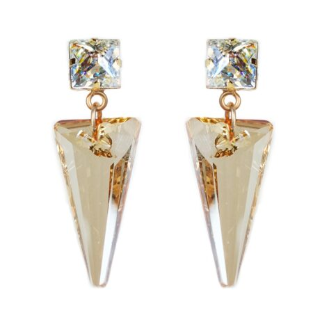 Crystal Shard Earrings - Golden Shadow & White Patina