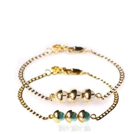 Pearl Duo Bracelet - Iridescent Green & Silk - Gold