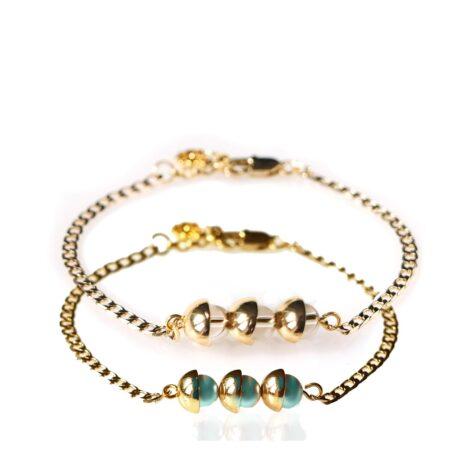 Pearl Duo Bracelet - Iridescent Green & Silk - Gold
