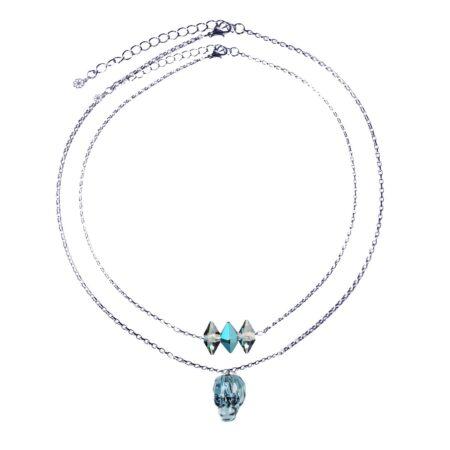 Layered Skull Necklace - Denim Blue & Silver
