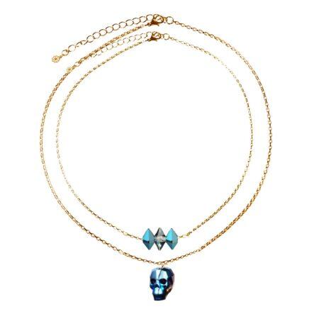 Layered Skull Necklace - Metallic Blue & Gold