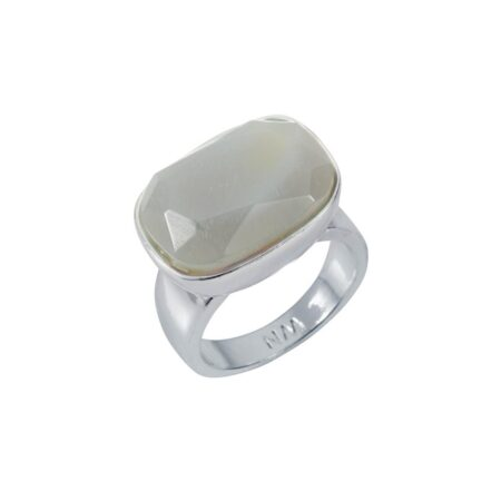 Grey Agate & Silver H Ring