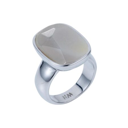 Grey Agate & Silver V Ring