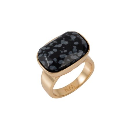 Black Snowflake Obsidian & Gold H Ring