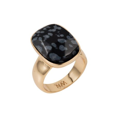 Black Snowflake Obsidian & Gold V Ring