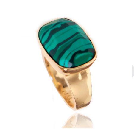 Malachite & Gold H Ring