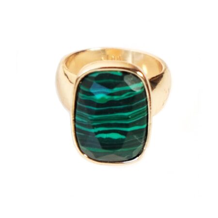 Malachite & Gold V Ring