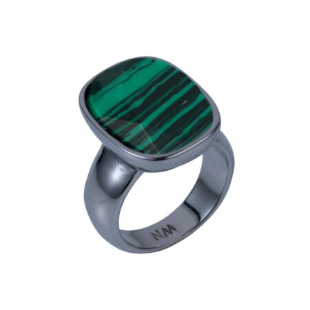 Malachite & Gunmetal V Ring