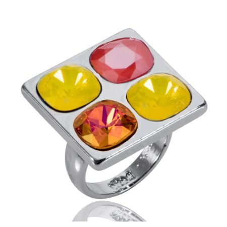 Squared Up Ring - Lemon & Raspberry