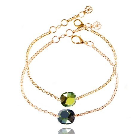 Stacking Duo Bracelet - Green and Petrol