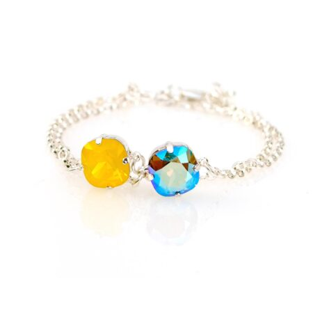 Stacking Duo Bracelet - Yellow & Blue Shimmer