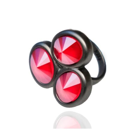 Triple Stone Oval Ring - Red